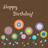 Happy Birthday Card With Abstract Colorful Flowers. On A Brown Background Royalty Free Stock Photography