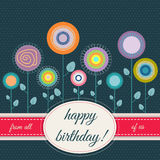 Happy Birthday Card With Abstract Flowers Royalty Free Stock Photos