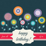 Happy Birthday Card With Abstract Flowers Royalty Free Stock Photo