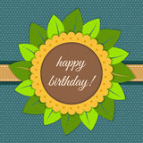 Happy Birthday Card With Abstract Sunflower Royalty Free Stock Photos