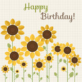 Happy Birthday Card With Abstract Sunflowers. Happy Birthday Card With Fields Of Abstract Sunflowers Royalty Free Stock Image