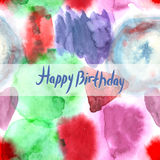 Happy Birthday Card. Abstract watercolor art hand paint pattern Royalty Free Stock Images