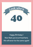 Happy Birthday card for age 40 with message. ``Look who`s 40 Royalty Free Stock Photography