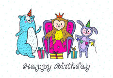 Happy birthday card with animal characters. Stock Photography