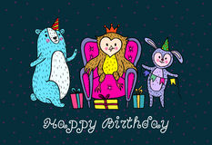 Happy birthday card with animal characters. Stock Image