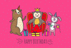 Happy birthday card with animal characters. Royalty Free Stock Images