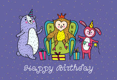 Happy birthday card with animal characters. Royalty Free Stock Photos
