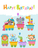 Happy Birthday Card With Animals On Train vector illustration