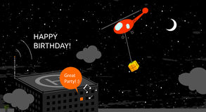 Happy birthday card. Anniversary vector illustration. Night time scene, with building, helicopter bringing gift box to party stock illustration