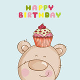 Happy Birthday Card - Baby Bear. With Cupcake - in vector Stock Image