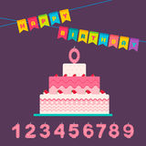 Happy birthday card for a baby. Happy birthday card set for a newborn baby with numbers and cake. Vector illustration Stock Photography