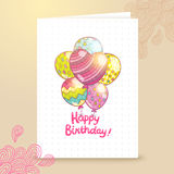 Happy Birthday card background with balloons. Royalty Free Stock Image