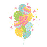Happy Birthday card background with balloons. Stock Image