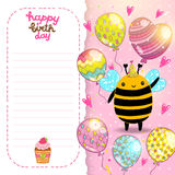 Happy Birthday card background with a bee. Royalty Free Stock Image