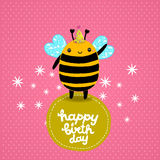Happy Birthday card background with a bee. Royalty Free Stock Images