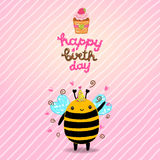 Happy Birthday card background with a bee. Stock Photo