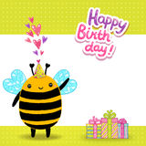 Happy Birthday card background with a bee. Stock Photos