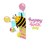 Happy Birthday card background with a bee. Royalty Free Stock Photos