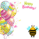 Happy Birthday card background with a bee. Stock Image