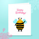 Happy Birthday card background with a bee. Stock Images