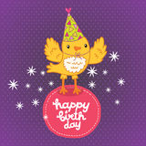 Happy Birthday card background with a bird. Royalty Free Stock Photo