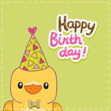 Happy Birthday card background with a bird Stock Image