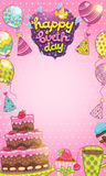 Happy Birthday card background. With cake, balloons and cupcakes. Vector holiday party template Stock Images