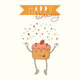 Happy Birthday card background with cake Royalty Free Stock Photo
