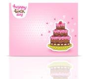Happy Birthday card background with cake. Stock Photo