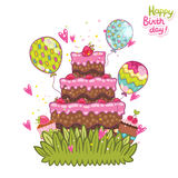 Happy Birthday card background with cake. Vector holiday party template Stock Image