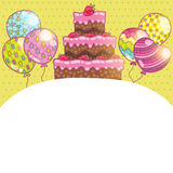 Happy Birthday card background with cake. Vector holiday party template Royalty Free Stock Photography
