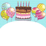 Happy Birthday card background with cake. Vector holiday party template Royalty Free Stock Photo