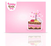 Happy Birthday card background with cake. Vector holiday party template Stock Photography