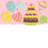 Happy Birthday card background with cake. Vector holiday party template Stock Photos