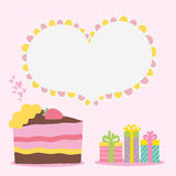 Happy Birthday card background with cake. Vector holiday party template Royalty Free Stock Image