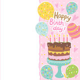 Happy Birthday card background with cake Stock Image