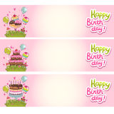 Happy Birthday card background with cakes Royalty Free Stock Image