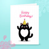 Happy Birthday card background with a cat. Royalty Free Stock Photo