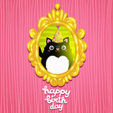 Happy Birthday card background with a cat. Royalty Free Stock Image