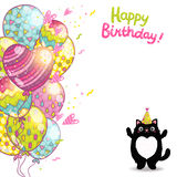 Happy Birthday card background with a cat. Stock Photography