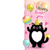 Happy Birthday card background with a cat. Royalty Free Stock Photos