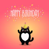 Happy Birthday card background with a cat. Stock Photos
