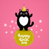 Happy Birthday card background with a cat. Royalty Free Stock Images