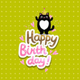 Happy Birthday card background with a cat. Stock Image