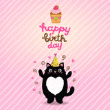 Happy Birthday card background with a cat. Royalty Free Stock Photography