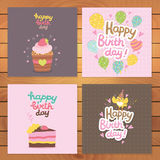 Happy Birthday card background with cupcake Royalty Free Stock Photo