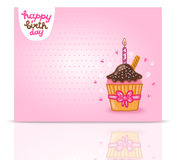 Happy Birthday card background with cupcake. Royalty Free Stock Photos