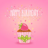Happy Birthday card background with cupcake. Royalty Free Stock Photo