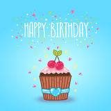 Happy Birthday card background with cupcake. Stock Images