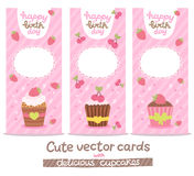 Happy Birthday card background with cupcakes vector illustration